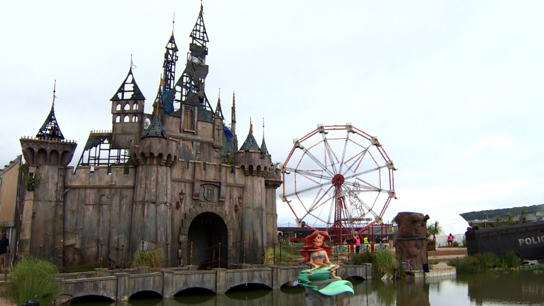 "<a href=""http://edition.cnn.com/2015/08/20/arts/banksy-dismaland-art-exhibition/"">Banksy's ""bemusement park,""</a> a warped vision of the so-called ""happiest place on Earth,"" was open for two months in Weston-super-Mare, England, before it was dismantled. The materials were then <a href=""http://edition.cnn.com/2015/09/29/arts/banksy-dismaland-refugees-calais/"">shipped to Calais</a> to be turned into shelters for migrants."