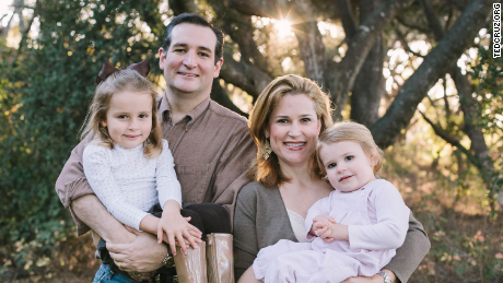 Cruz poses with his wife, Heidi, and his daughters Caroline and Catherine.