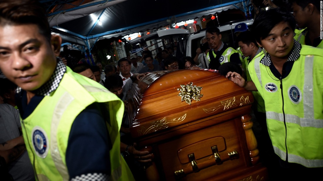 A coffin of one of the 20 victims killed in the blast is sent home on Wednesday, August 19, 2015.