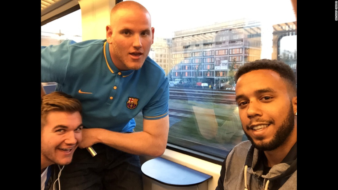 Americans Alek Skarlatos (from left), Spencer Stone and Anthony Sadler helped tackle a gunman aboard a high-speed train.