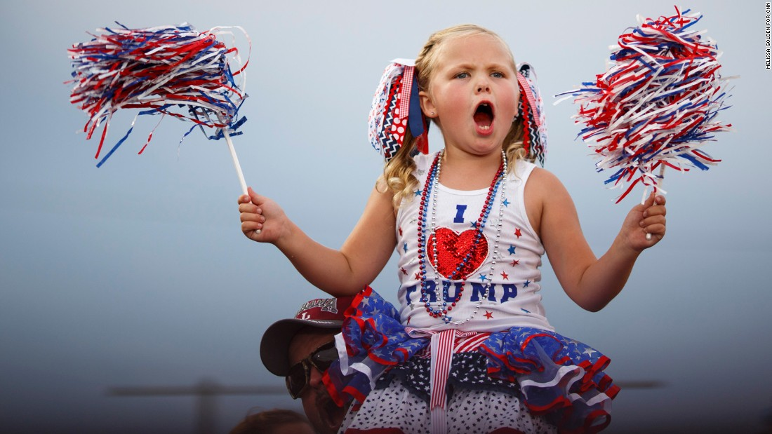 A young supporter of Republican presidential candidate Donald Trump cheers at a pep rally in Mobile, Alabama, on Friday, August 21.Trump brought 30,000 supporters -- according to the City of Mobile -- from deep red Alabama to a pep rally in a football stadium, the latest sign that the Republican front-runner has broad, nationwide strength.