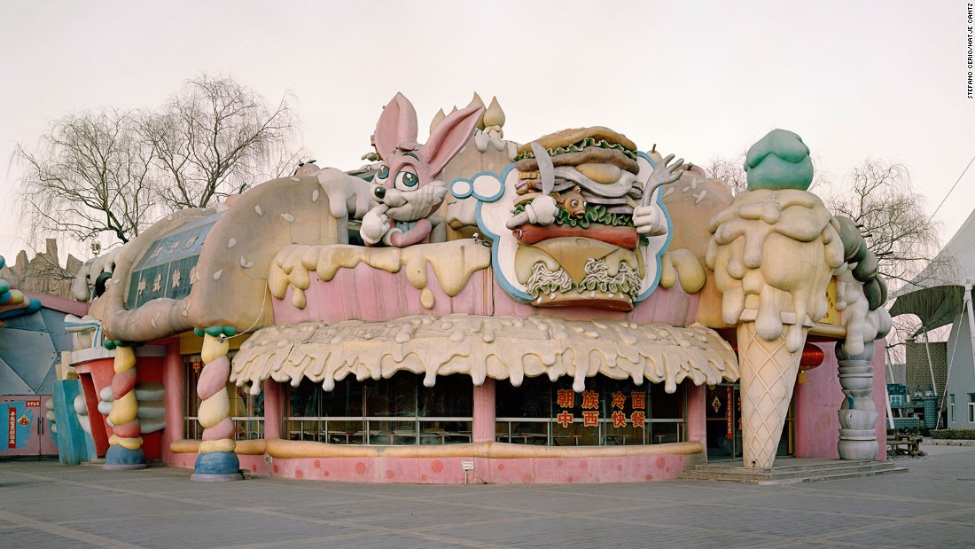This park, which opened in the mid-80s, came under fire in 2007, for apparent copyright violations in relation to its Disney-like features. This photo shows one of the places you can grab a bite to eat at the park (if you dare). The mismatch of design -- dripping cheese, ice cream, and a dopey rabbit dreaming up a goldfish hamburger aren't exactly appetite inducing.