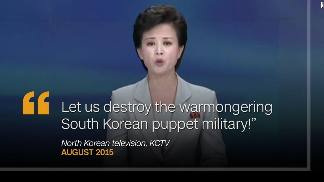 "<strong>August 2015: </strong>On August 23, as North Korean negotiators were meeting with their South Korean counterparts over current tensions, a KCTV presenter appeared on air repeating North Korea's ambitions to ""destroy the warmongering South Korean puppet military."""