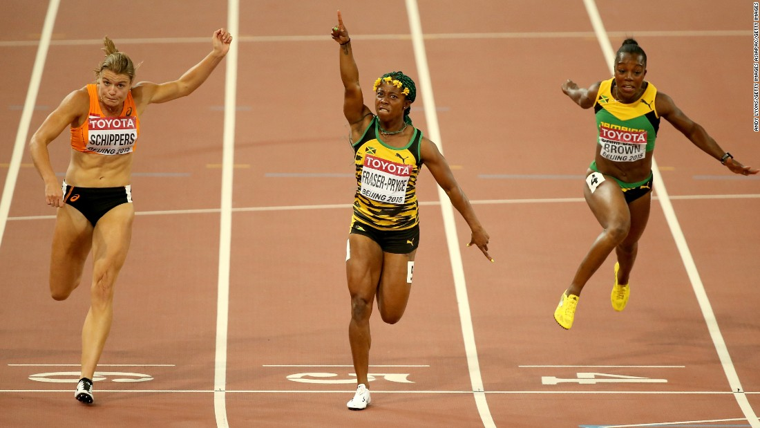 Jamaican Shelly-Ann Fraser-Pryce (C) beat Schippers and Veronica Campbell-Brown of Jamaica to win gold in the women's 100m at the the World Athletics Championships at Beijing National Stadium on August 24, 2015.
