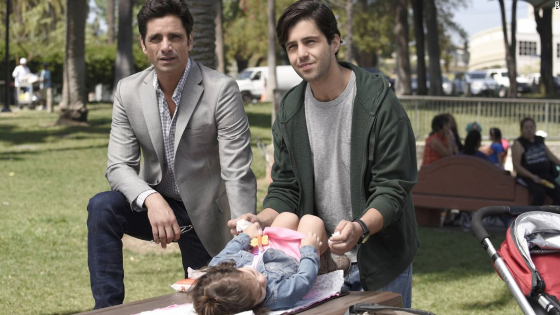 "John Stamos stars as a restaurant owner who discovers he has a son, who is played by Josh Peck, in ""Grandfathered"" on Fox."
