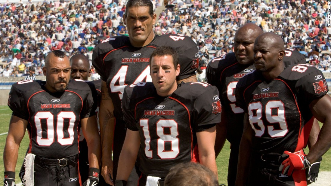 "To honor the kickoff of fall football season, let's take a look at the plot lines of our favorite gridiron-related movies. In the 2005 remake ""The Longest Yard,"" Adam Sandler (center, in the old Burt Reynolds role) leads a team of prison inmates in a game against their guards."
