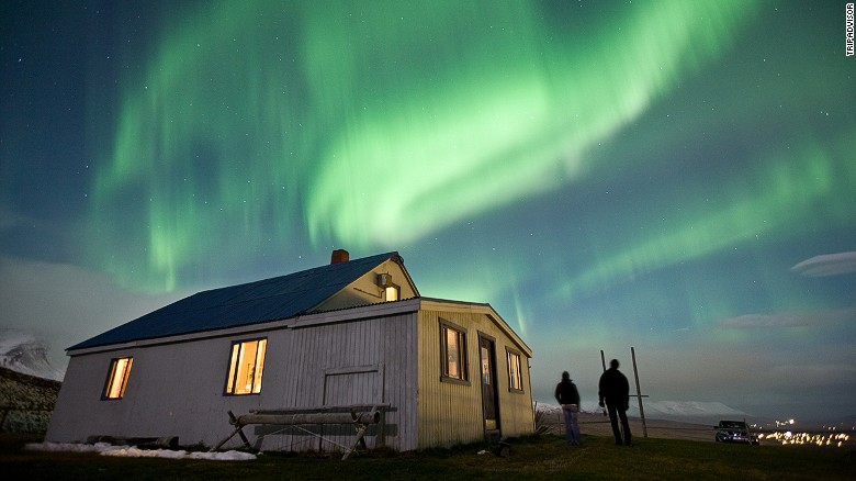 Akureyri, Iceland is one of many cool places to get a glimpse of the greatest show on earth, the Northern Lights.