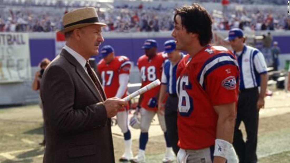 """Keanu Reeves and Gene Hackman star in 2000's """"The Replacements,"""" about a football team staffed by """"scabs"""" after the players go on strike."""
