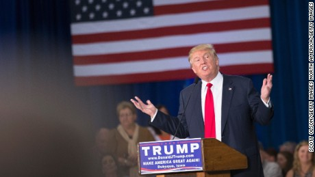 Republican presidential candidate Donald Trump speaks to guests gathered for a campaign event at the Grand River Center on August 25, 2015 in Dubuque, Iowa.