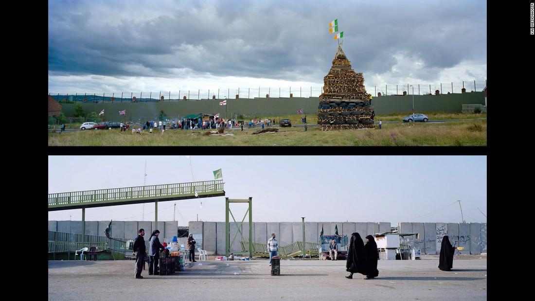 Top: Belfast, Alliance Avenue; Northern Ireland, 2010. Bottom: Baghdad, Omar Khattab Street; Iraq, 2012.