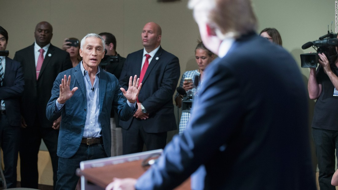"""Republican presidential candidate Donald Trump fields a question about immigration from Univision and Fusion anchor Jorge Ramos on August 25 in Dubuque, Iowa, a few minutes after Trump had Ramos <a href=""""http://www.cnn.com/2015/08/25/politics/donald-trump-megyn-kelly-iowa-rally/index.html"""">removed from the room</a>. The respected anchor had failed to yield when Trump wanted to take a question from a different reporter."""