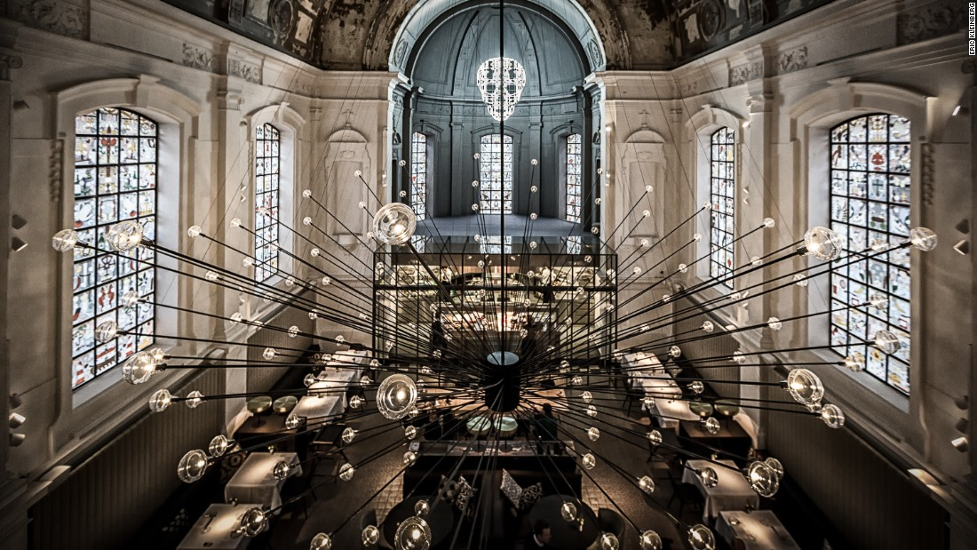 """The Jane took top prize for best restaurant design at this year's <a href=""""http://restaurantandbardesignawards.com/"""" target=""""_blank"""">Restaurant and Bar Design Awards.  </a><br />This ex-military hospital chapel was transformed into an alluring space by local design practice Piet Boon. It features a statement, spiked chandelier design and all-new stained glass windows by Studio Job<br />"""