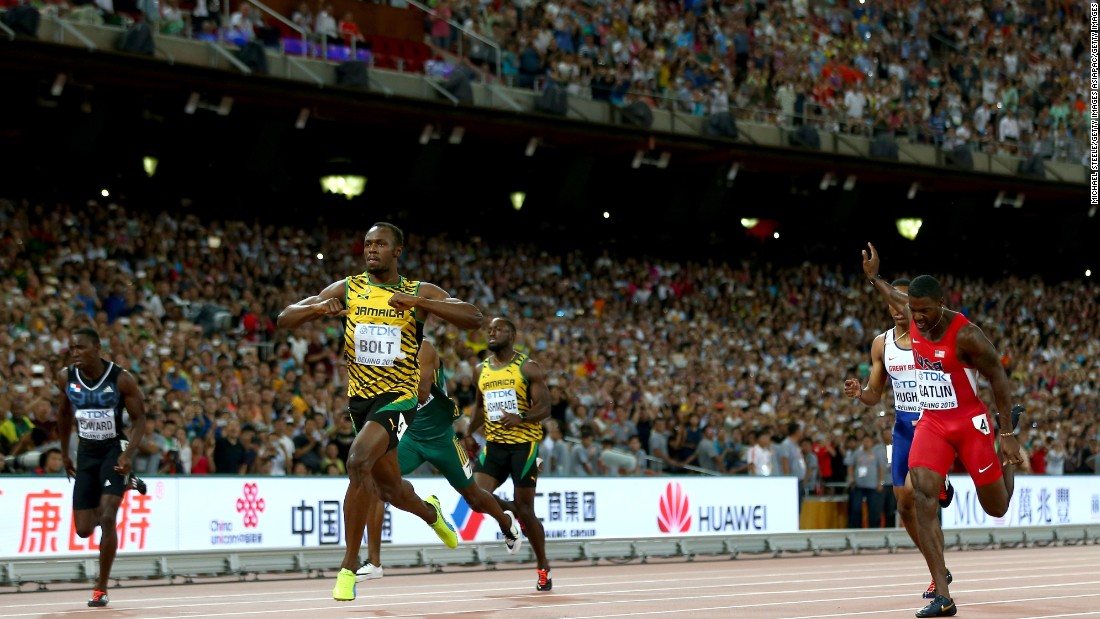Bolt recorded a time of 19.55 seconds to beat Gatlin, who finished second in 19.74s.