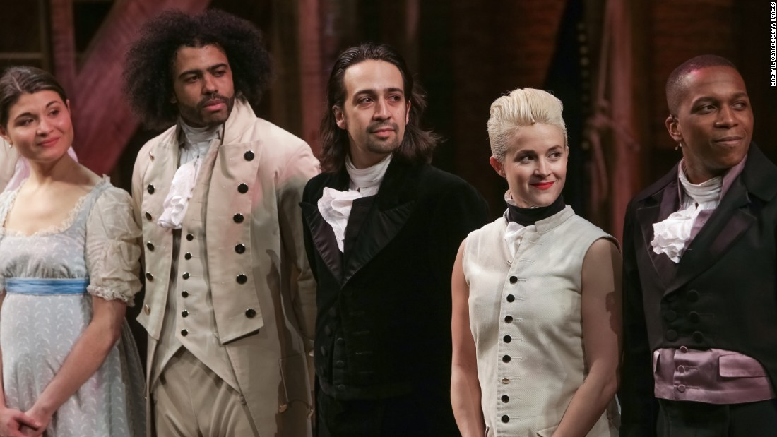"""Actor Lin-Manuel Miranda, center, and cast members from the musical """"Hamilton,"""" landed on Broadway to raves from audiences and critics alike. The show about founding father Alexander Hamilton (written by Miranda, who is of Puerto Rican descent) was praised for its innovative music and diverse casting. The show's fans include President Barack Obama, <a href=""""http://www.cnn.com/2015/07/17/politics/obama-hamilton-broadway/index.html"""">who saw it in July</a>."""