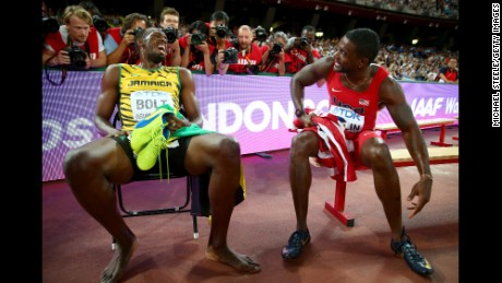 Usain Bolt talks with  Justin Gatlin after the Men's 200 metres final during day six of the 15th IAAF World Athletics Championships Beijing 2015 at Beijing National Stadium in 2015.
