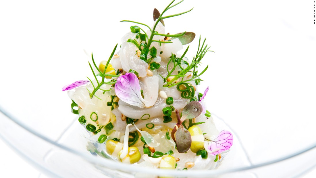 Providence's Engawa (fluke fin) offering includes sprouted mung bean, radish blossom and oro blanco.