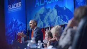 Salmon spawns on Obama in Alaska