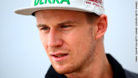 NORTHAMPTON, ENGLAND - JULY 02:  Nico Hulkenberg of Germany and Force India speaks with members of the media in the paddock during previews to the Formula One Grand Prix of Great Britain at Silverstone Circuit on July 2, 2015 in Northampton, England.  (Photo by Mark Thompson/Getty Images)
