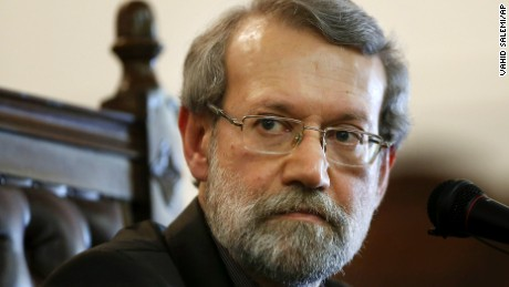 Iran's parliament speaker Ali Larijani listens to a question during a press conference at parliament in Tehran, Iran, Monday, March 16, 2015. Referring to the Iran's nuclear talks with world powers, Ali Larijani told reporters on Monday that a final nuclear deal can serve interests of both Iran and the region. (AP Photo/Vahid Salemi)