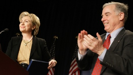 """U.S. Senator Hillary Clinton (D-NY) (left) is welcomed to the stage by Democratic National Committee Chairman Howard Dean at the DNC's 2007 Winter Meeting, """"Strong Leadership for America's Future,"""" February 2, 2007 in Washington, D.C."""