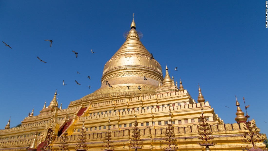 "The Buddhist temple of <a href=""http://ireport.cnn.com/docs/DOC-1251204"">Shwezigon Paya</a> is one of the best maintained temples near this ancient city. ""After the trip past the stone stupas, when I entered the compound, I was awestruck by the majesty of the golden monument,"" said Robert Winter, who visited in 2014."