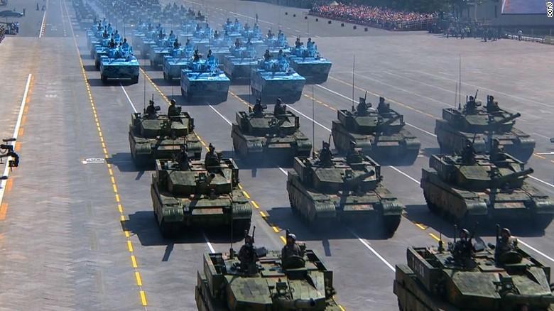 Tanks promenade through the parade route on September 3.