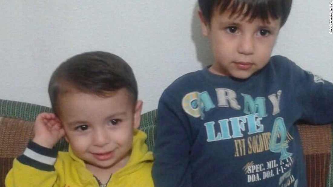 The body of a 2-year-old boy who washed ashore in Turkey has been identified as Aylan Kurdi, seen here, left, with his brother, Galip, who also drowned. The boys and their mother, Rehen, died during a treacherous journey across the Mediterranean Sea to escape war-torn Syria. The boys' aunt, Tima Kurdi, who lives in Canada, posted this image to Facebook.