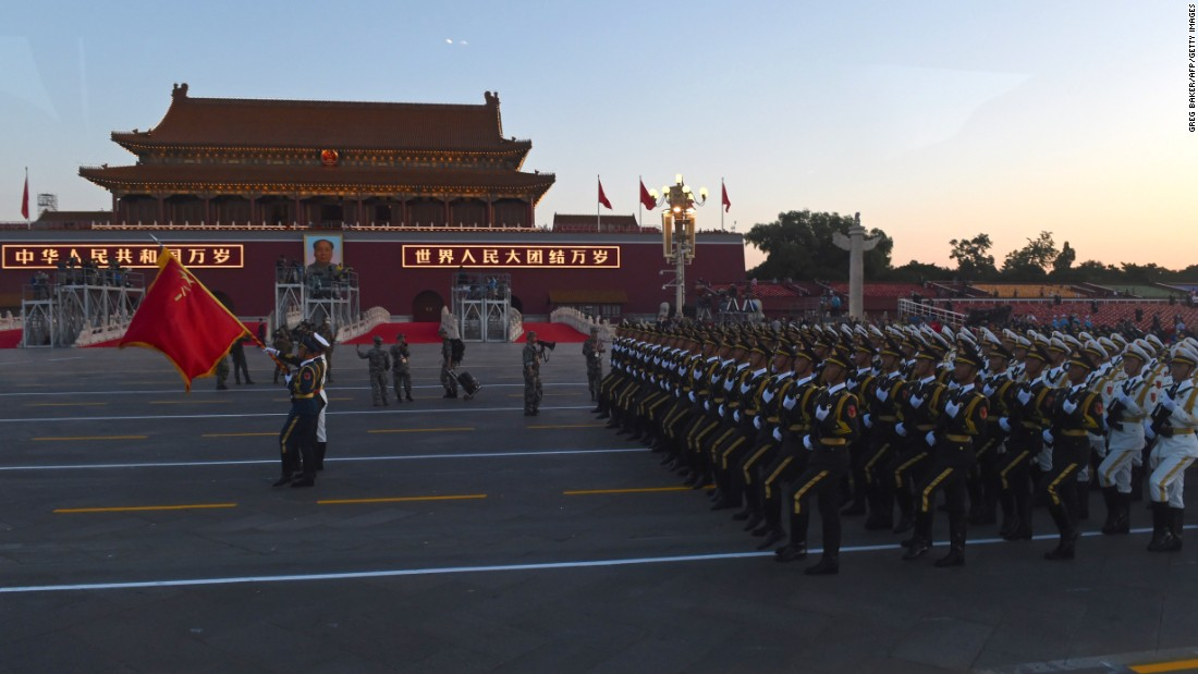 Chinese soldiers conduct last-minute drills ahead of the military parade in Beijing's Tiananmen Square on September 3.