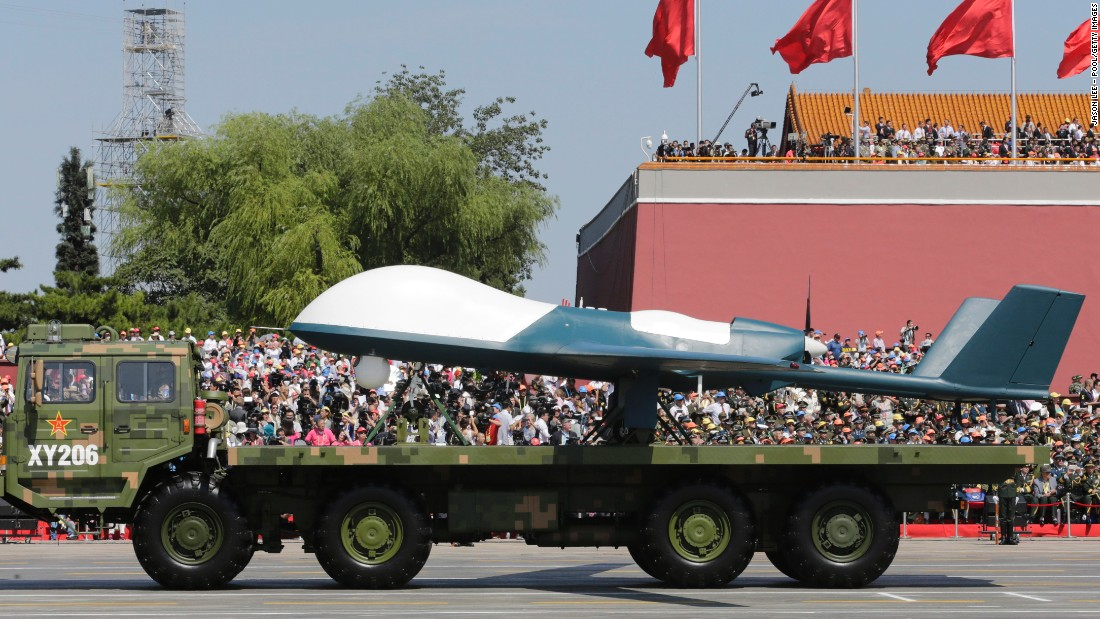 A military vehicle carrying a Pterodactyl I drone rolled through Beijing on September 3.