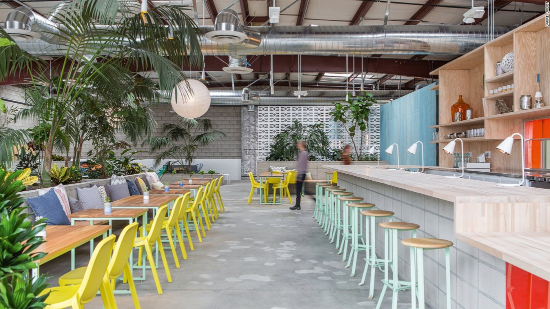 """This vegan <a href=""""http://thespringsla.com/"""" target=""""_blank"""">oasis</a> in Los Angeles arts district offers a multipurpose space sprawling across more than 13,000 square feet within a standard-issue 1980s cinder block warehouse. <br />Designed by architects Catherine Johnson and Rebecca Rudolph of, ahem, Design Bitches, the health super center offers holistic treatments, yoga and a vegan menu.<br /><br />Design byDesign Bitches, Photo byLaure Jolietfrom Let's Go Out Again, Copyright Gestalten 2015"""