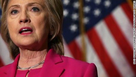 Democratic U.S. presidential hopeful and former U.S. Secretary of State Hillary Clinton speaks to members of the media July 14, 2015 on Capitol Hill in Washington, DC.