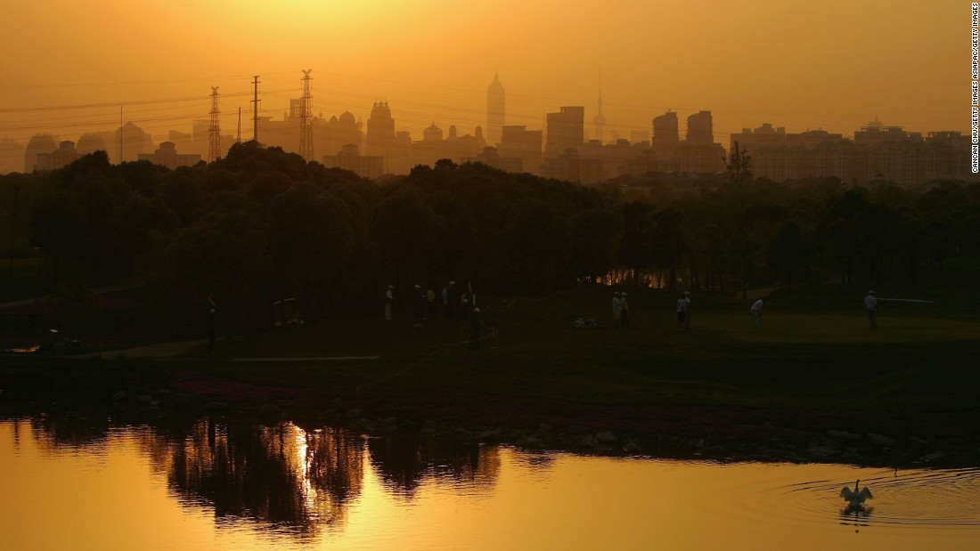 The unmistakable Shanghai skyline can be seen from the picturesque Tomson Golf Club in China.