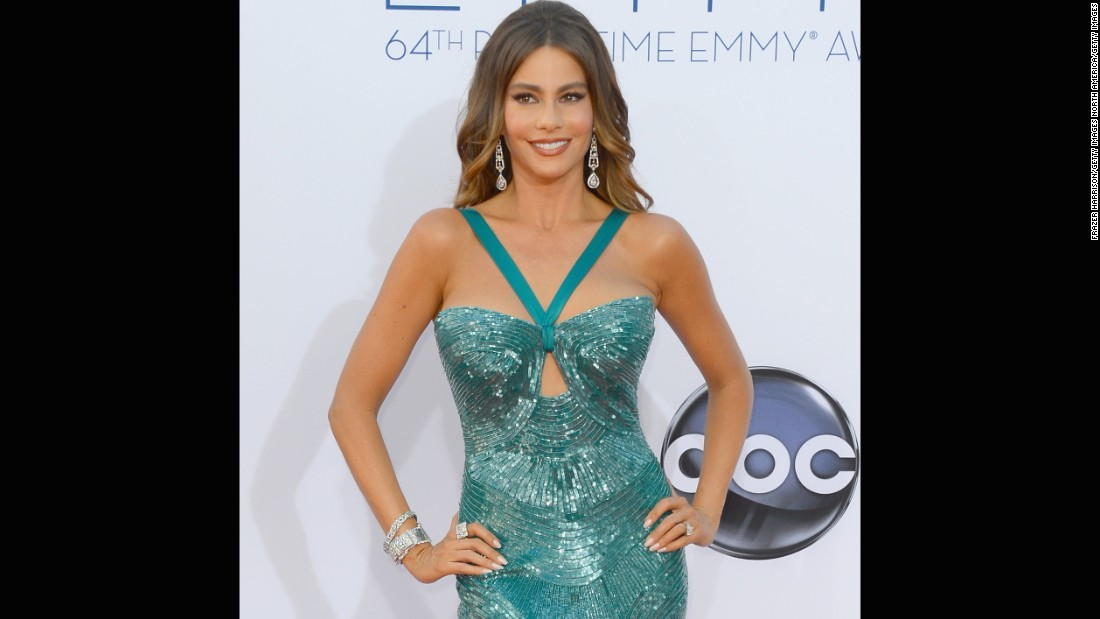 "Sofia Vergara sparkled in a skin-tight mermaid gown at the 2012 Emmys. The dress later split on the ""Modern Family"" star, causing her team <a href=""http://www.hollywoodreporter.com/fash-track/sofia-vergaras-dress-split-accidentally-backside-emmys-373418"" target=""_blank"">to literally sew her back into it. </a>"