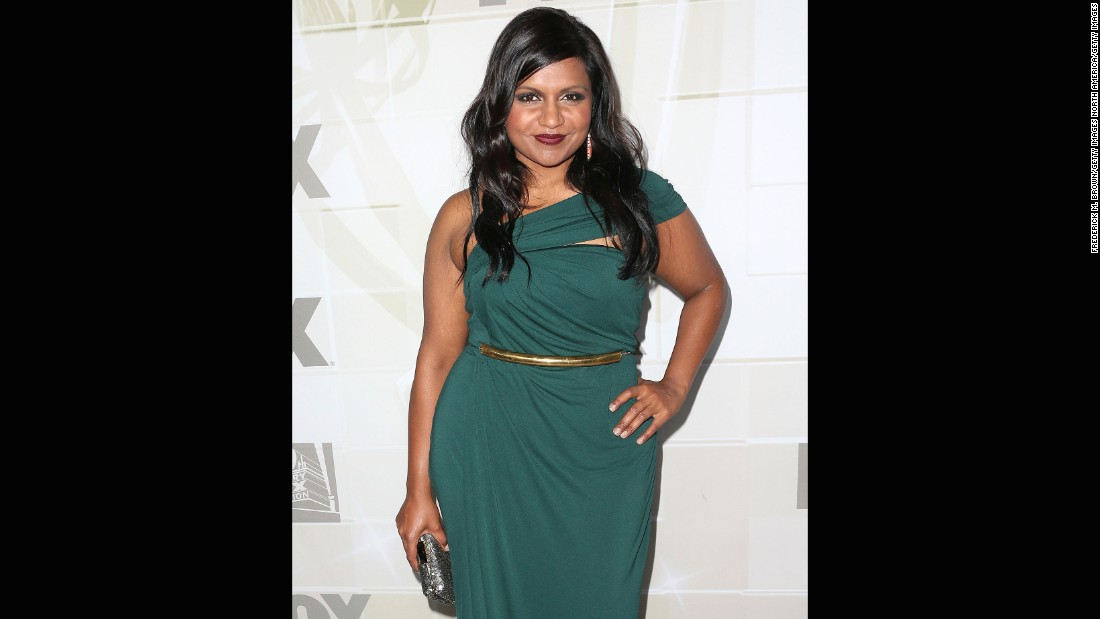 Mindy Kaling looked luxurious in rich forest green at the 2012 Emmys.