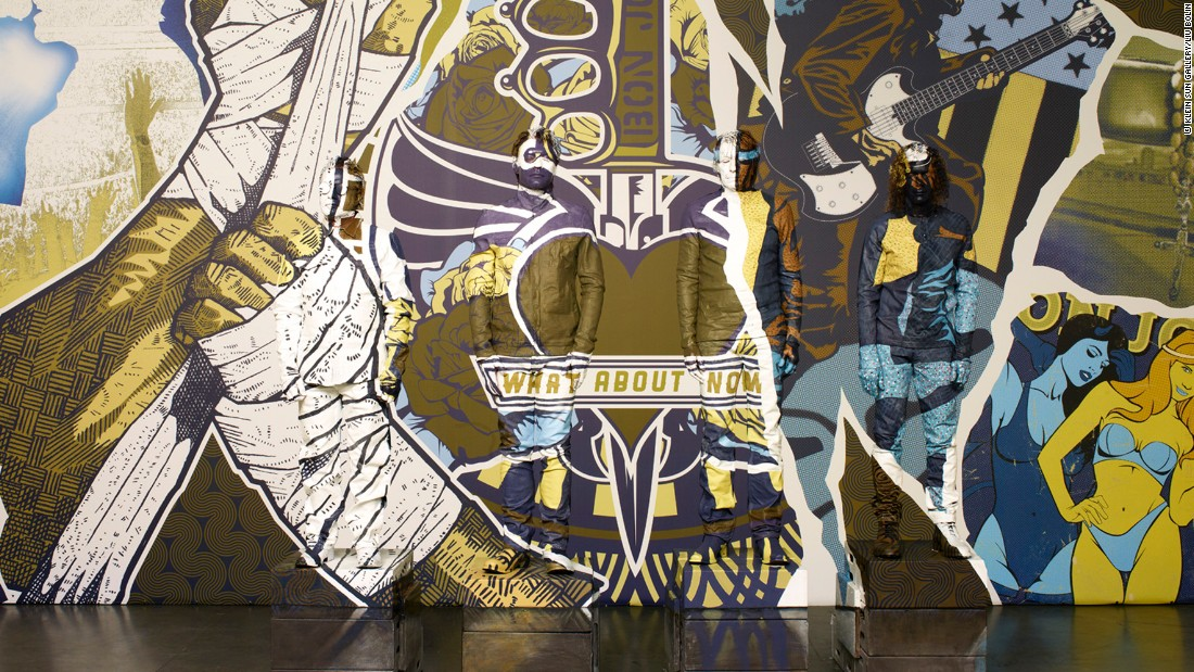 This mural, which conceals both Liu Bolin and Bon Jovi, became the album cover for Bon Jovi's What About Now. The background mural was designed by Alex Haldi.<br />
