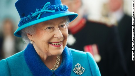 Queen Elizabeth II on April 29, 2014, during a visit to Pembroke Dock, Wales, to mark the town's 200th anniversary.