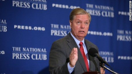 Republican Presidential hopeful and U.S. Senator Lindsey Graham (R-SC) addresses a Newsmaker Luncheon at the National Press Club September 8, 2015 in Washington, DC.