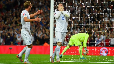 Wayne Rooney of England celebrates scoring their second goal from the penalty spot with Harry Kane during the UEFA EURO 2016 Group E qualifying match between England and Switzerland at Wembley Stadium on September 8, 2015 in London, United Kingdom. Wayne Rooney's 50th goal breaks the record for most international goals scored for England. Sir Bobby Charlton held the record previously with 49 goals.