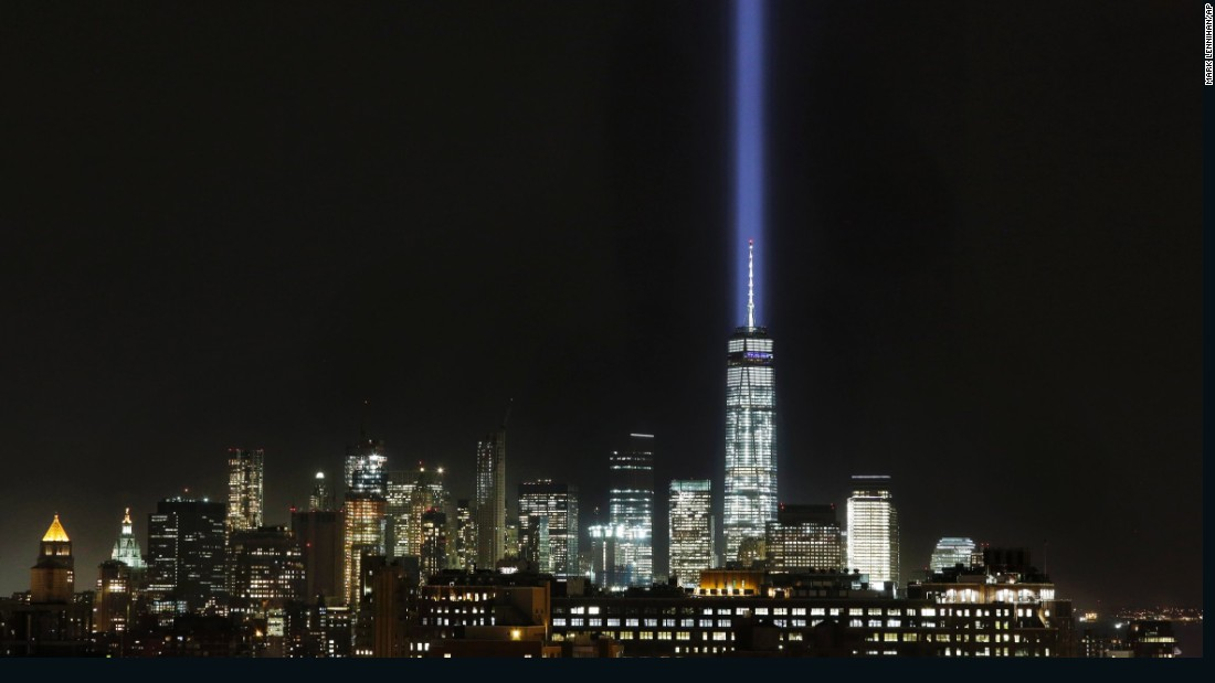 "<a href=""http://www.911memorial.org/blog/look-tribute-light"" target=""_blank"">The Tribute in Light</a> illuminates the sky behind One World Trade Center and the Lower Manhattan skyline on Wednesday, September 9."
