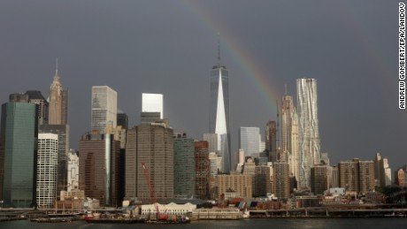 A rainbow appears over New York's One World Trade Center on Thursday.
