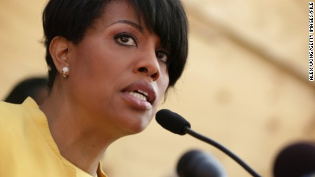 Mayor Stephanie Rawlings-Blake speaks during a news conference in front of the burned CVS in the Sandtown neighborhood May 7, 2015 in Baltimore, Maryland.
