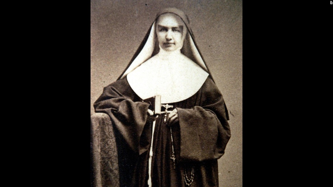 """<strong>St. Marianne Cope</strong> was born Barbara Koob in 1838 in West Germany, but her family moved to the United States when she was an infant. She joined the Sisters of St. Francis in her early 20s and received the name """"Sister Marianne."""" She is best known for her work with people afflicted with leprosy in Hawaii. She died in Hawaii in 1918."""