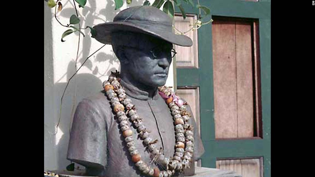 This is a statue of <strong>St. Damien de Veuster of Moloka'i</strong>, who was best known for his work with people suffering with leprosy in the Hawaiian islands. The Belgian-born priest ended up in Hawaii as a replacement for his brother, also a priest, who had been assigned to a mission in Hawaii but subsequently became too ill to travel. Upon arriving, the young priest offered to stay in the leper colony at Moloka'i permanently to help by building schools, hospitals, churches and coffins, according to the U.S. Conference of Catholic Bishops website. He worked closely with St. Marianne Cope. St. Damien ultimately contracted leprosy and died in 1889 at age 49. He is Hawaii's patron saint.