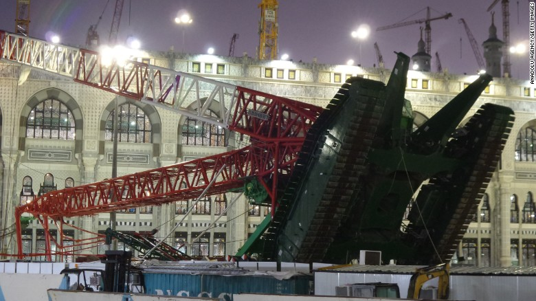 A crane collapsed Friday, September 11, at one of Islam's most important mosques, the Masjid al-Haram in Mecca, Saudi Arabia. Dozens of people were killed and more than 150 were injured, Saudi Arabian authorities said via Twitter.