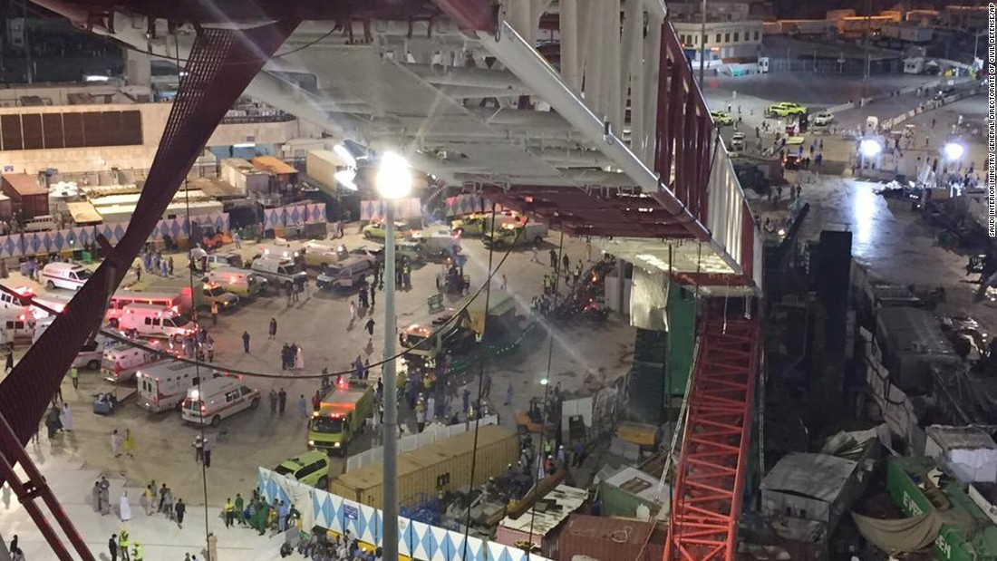 Severe storms and heavy rain caused the crane to fall, the directorate of the Saudi Civil Defense said via Twitter. A strong thunderstorm popped up over Mecca, bringing gusty winds that shifted direction and caused the local temperature to drop from 42 to 25 degrees Celsius (107.6 to 77 degrees Fahrenheit), CNN meteorologists reported.