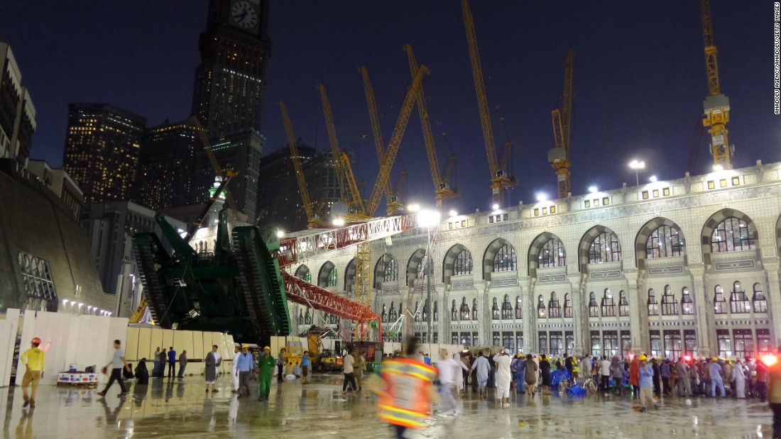 A crane collapsed Friday, September 11, at one of Islam's most important mosques, the Masjid al-Haram in Mecca, Saudi Arabia.  At least 107 people were killed and 238 others injured, Saudi Arabia's civil defense authorities said.