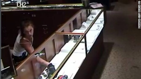 Police in Panama City Beach, Florida, released this photo of a female suspect in the robbery of a jewelry store.