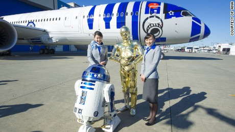 "ANA Airlines has a fleet of ""Stars Wars"" themed jets."