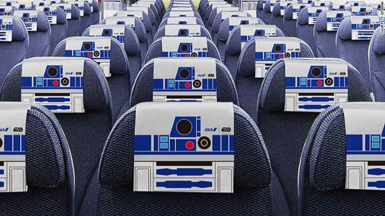 The R2-D2 theme is carried through inside and out, with decorated headrests, paper napkins and cups.