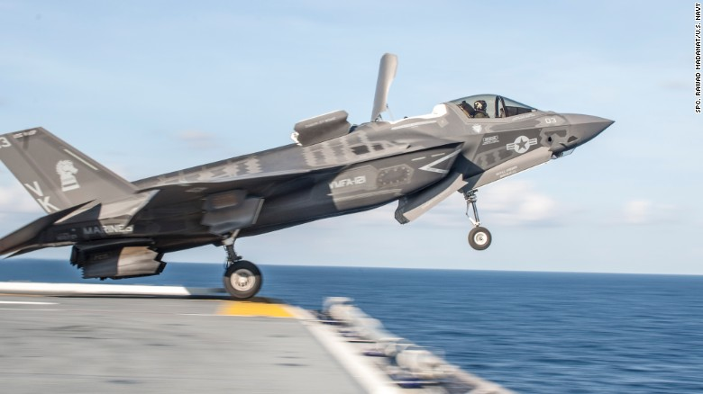 An F-35B Lightning II takes off from the flight deck of the amphibious assault ship USS Wasp during test operations in May.